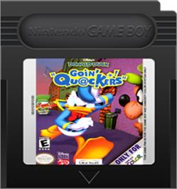 Cartridge artwork for Donald Duck: Goin' Quackers on the Nintendo Game Boy Color.