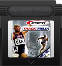 Cartridge artwork for ESPN International Track & Field on the Nintendo Game Boy Color.