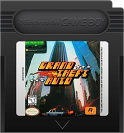 Cartridge artwork for Grand Theft Auto on the Nintendo Game Boy Color.