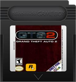 Cartridge artwork for Grand Theft Auto 2 on the Nintendo Game Boy Color.