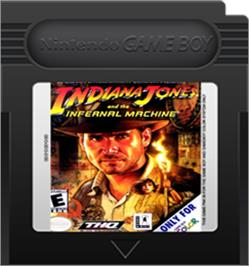 Cartridge artwork for Indiana Jones and the Infernal Machine on the Nintendo Game Boy Color.