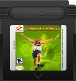 Cartridge artwork for International Track & Field on the Nintendo Game Boy Color.