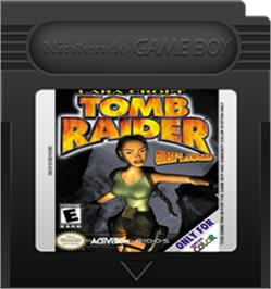 Cartridge artwork for Lara Croft Tomb Raider: Curse of the Sword on the Nintendo Game Boy Color.