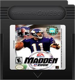 Cartridge artwork for Madden NFL 2002 on the Nintendo Game Boy Color.