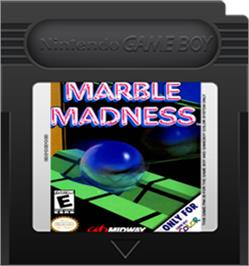 Cartridge artwork for Marble Madness on the Nintendo Game Boy Color.
