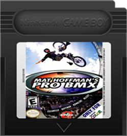 Cartridge artwork for Mat Hoffman's Pro BMX on the Nintendo Game Boy Color.