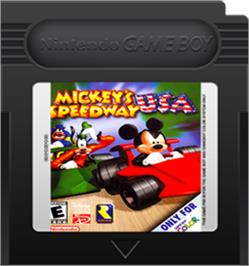Cartridge artwork for Mickey's Speedway USA on the Nintendo Game Boy Color.