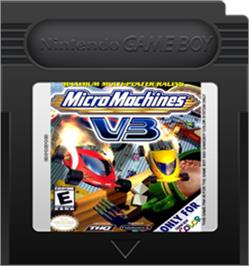 Cartridge artwork for Micro Machines V3 on the Nintendo Game Boy Color.