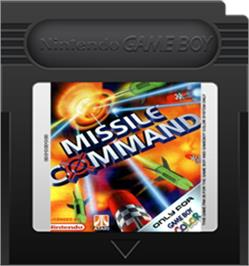 Cartridge artwork for Missile Command on the Nintendo Game Boy Color.