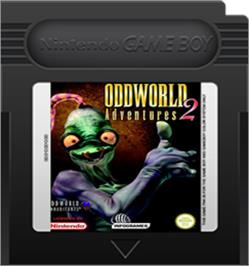Cartridge artwork for Oddworld: Adventures 2 on the Nintendo Game Boy Color.