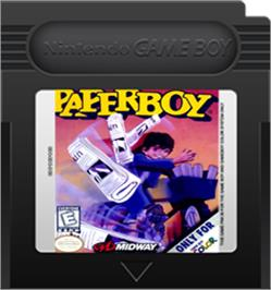 Cartridge artwork for Paperboy on the Nintendo Game Boy Color.