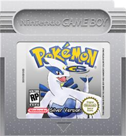 Cartridge artwork for Pokemon: Silver Version on the Nintendo Game Boy Color.