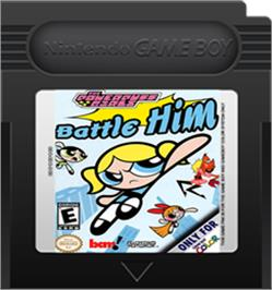 Cartridge artwork for Powerpuff Girls: Battle Him on the Nintendo Game Boy Color.