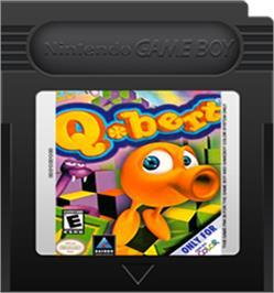 Cartridge artwork for Q*Bert on the Nintendo Game Boy Color.