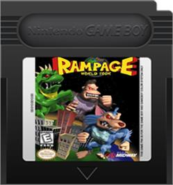 Cartridge artwork for Rampage: World Tour on the Nintendo Game Boy Color.