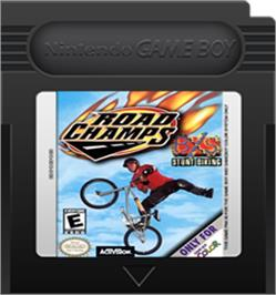Cartridge artwork for Road Champs: BXS Stunt Biking on the Nintendo Game Boy Color.