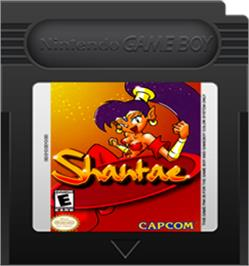 Cartridge artwork for Shantae on the Nintendo Game Boy Color.