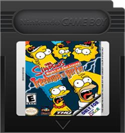 Cartridge artwork for Simpsons: Night of the Living Treehouse of Horror on the Nintendo Game Boy Color.