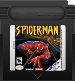 Cartridge artwork for Spider-Man on the Nintendo Game Boy Color.