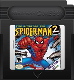 Cartridge artwork for Spider-Man 2: The Sinister Six on the Nintendo Game Boy Color.