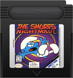 Cartridge artwork for The Smurfs Nightmare on the Nintendo Game Boy Color.