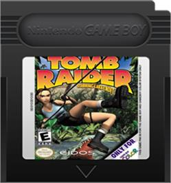 Cartridge artwork for Tomb Raider on the Nintendo Game Boy Color.