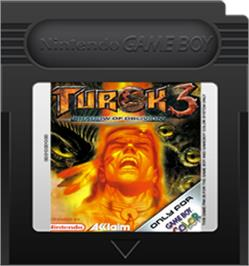 Cartridge artwork for Turok 3: Shadow of Oblivion on the Nintendo Game Boy Color.