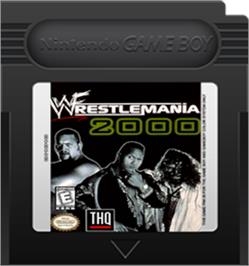 Cartridge artwork for WWF Wrestlemania 2000 on the Nintendo Game Boy Color.