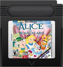 Cartridge artwork for Walt Disney's Alice in Wonderland on the Nintendo Game Boy Color.