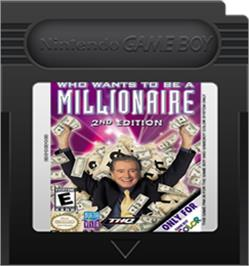 Cartridge artwork for Who Wants To Be A Millionaire? on the Nintendo Game Boy Color.