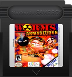 Cartridge artwork for Worms Armageddon on the Nintendo Game Boy Color.