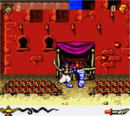 In game image of Aladdin on the Nintendo Game Boy Color.