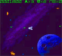 In game image of Asteroids on the Nintendo Game Boy Color.