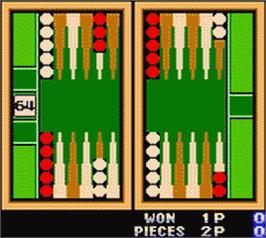 In game image of Backgammon on the Nintendo Game Boy Color.