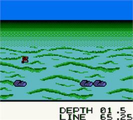 In game image of Black Bass - Lure Fishing on the Nintendo Game Boy Color.