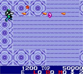 In game image of Burai Fighter on the Nintendo Game Boy Color.
