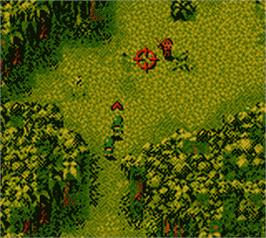 In game image of Cannon Fodder on the Nintendo Game Boy Color.