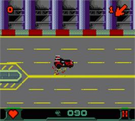 In game image of Carmageddon: Carpocalypse Now on the Nintendo Game Boy Color.