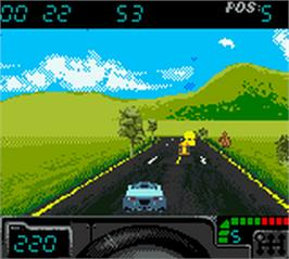 In game image of Cruis'n Exotica on the Nintendo Game Boy Color.