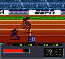 In game image of ESPN International Track & Field on the Nintendo Game Boy Color.
