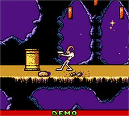 In game image of Earthworm Jim: Menace 2 the Galaxy on the Nintendo Game Boy Color.