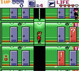 In game image of Elevator Action on the Nintendo Game Boy Color.