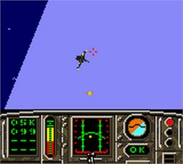 In game image of F-18 Thunder Strike on the Nintendo Game Boy Color.