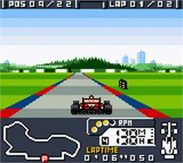 In game image of F-1 World Grand Prix on the Nintendo Game Boy Color.