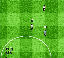 In game image of F.A. Premier League Stars 2001 on the Nintendo Game Boy Color.
