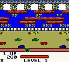 In game image of Frogger on the Nintendo Game Boy Color.