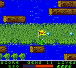 In game image of Frogger 2 - Swampy's Revenge on the Nintendo Game Boy Color.