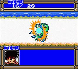In game image of Ganbare Goemon: Mononoke Douchuu Tobidase Nabe-Bugyou on the Nintendo Game Boy Color.