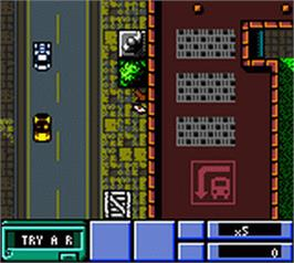 In game image of Grand Theft Auto on the Nintendo Game Boy Color.