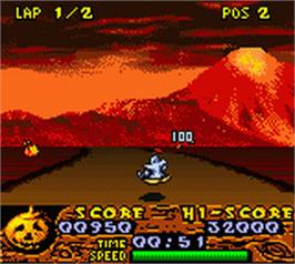 In game image of Halloween Racer on the Nintendo Game Boy Color.
